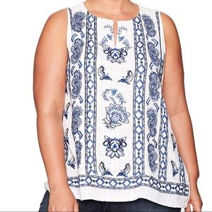 Lucky Brand BoHo chic embroidered tank top
